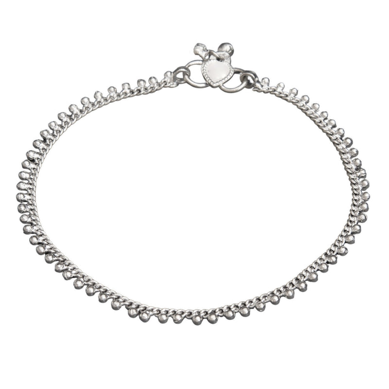 A simple, nickel free solid silver fine beaded ankle chain designed by OMishka.
