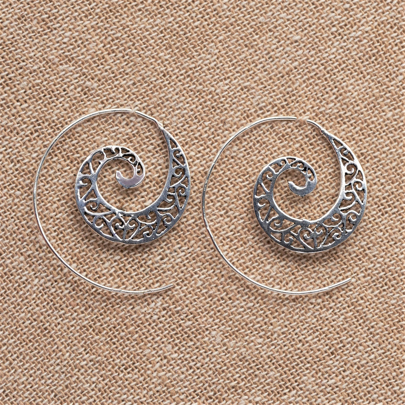 Handmade nickel free solid silver, cut out ivy vine, spiral hoop earrings designed by OMishka.