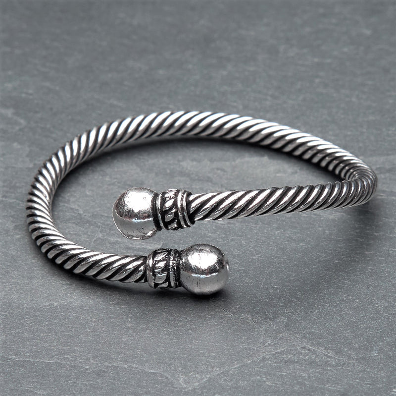 A nickel free silver rope bracelet with ball ends designed by OMishka.