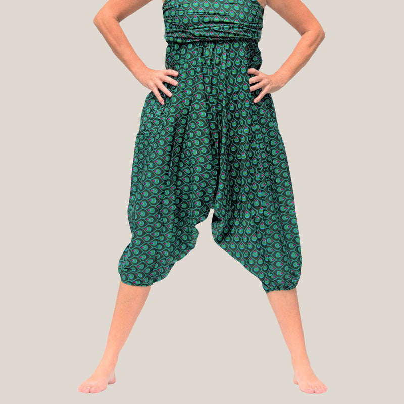 Green Peacock Feather - Yoga Pants, Harem Trousers & Jumpsuit
