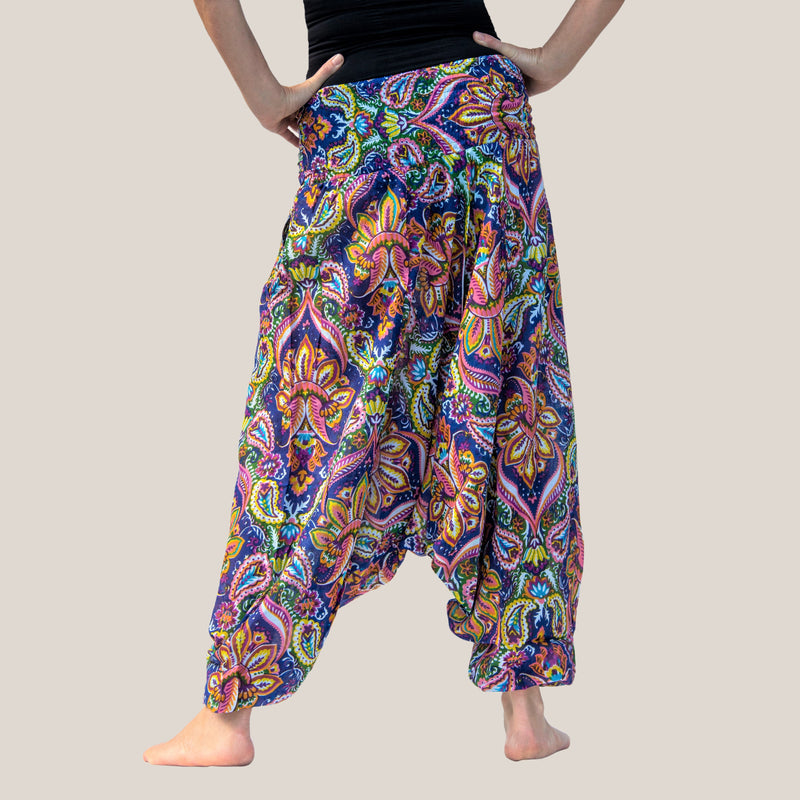 Blue Mango Motif -  Yoga Pants, Harem Trousers & Jumpsuit