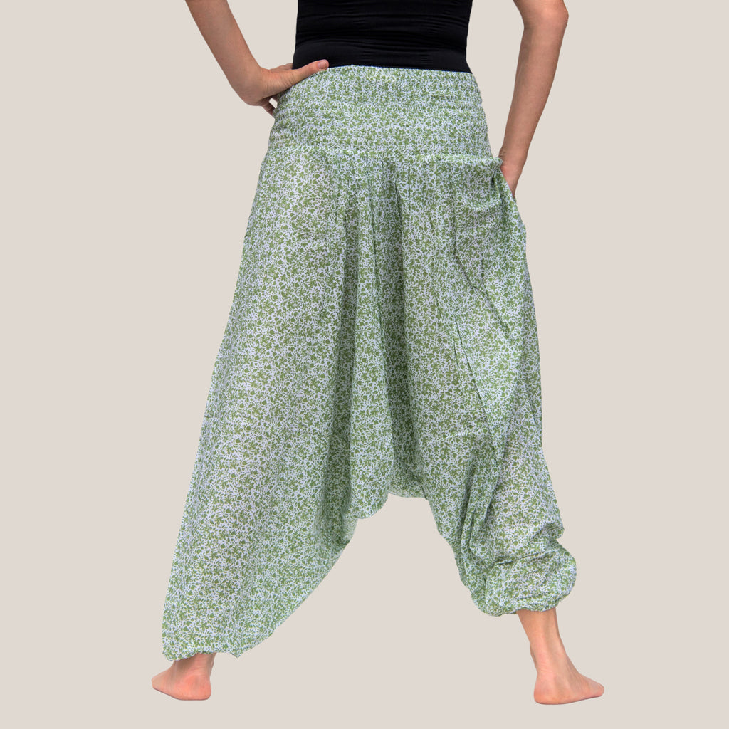 Green Ditsy Flower - Yoga Pants, Harem Trousers & Jumpsuit