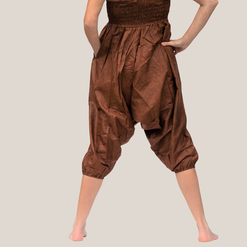 Brown Flower Spiral - Yoga Pants, Harem Trousers & Jumpsuit
