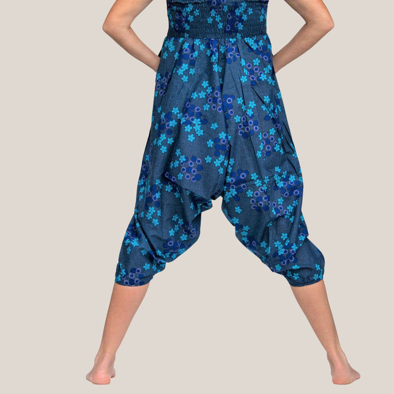Blue Flower Spiral - Yoga Pants, Harem Trousers & Jumpsuit