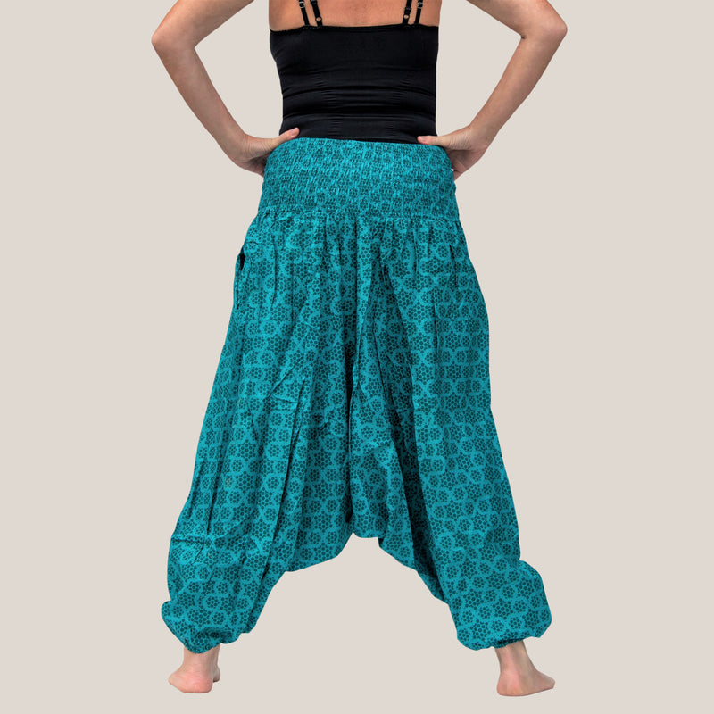 Teal Honeycomb - Yoga Pants, Harem Trousers & Jumpsuit