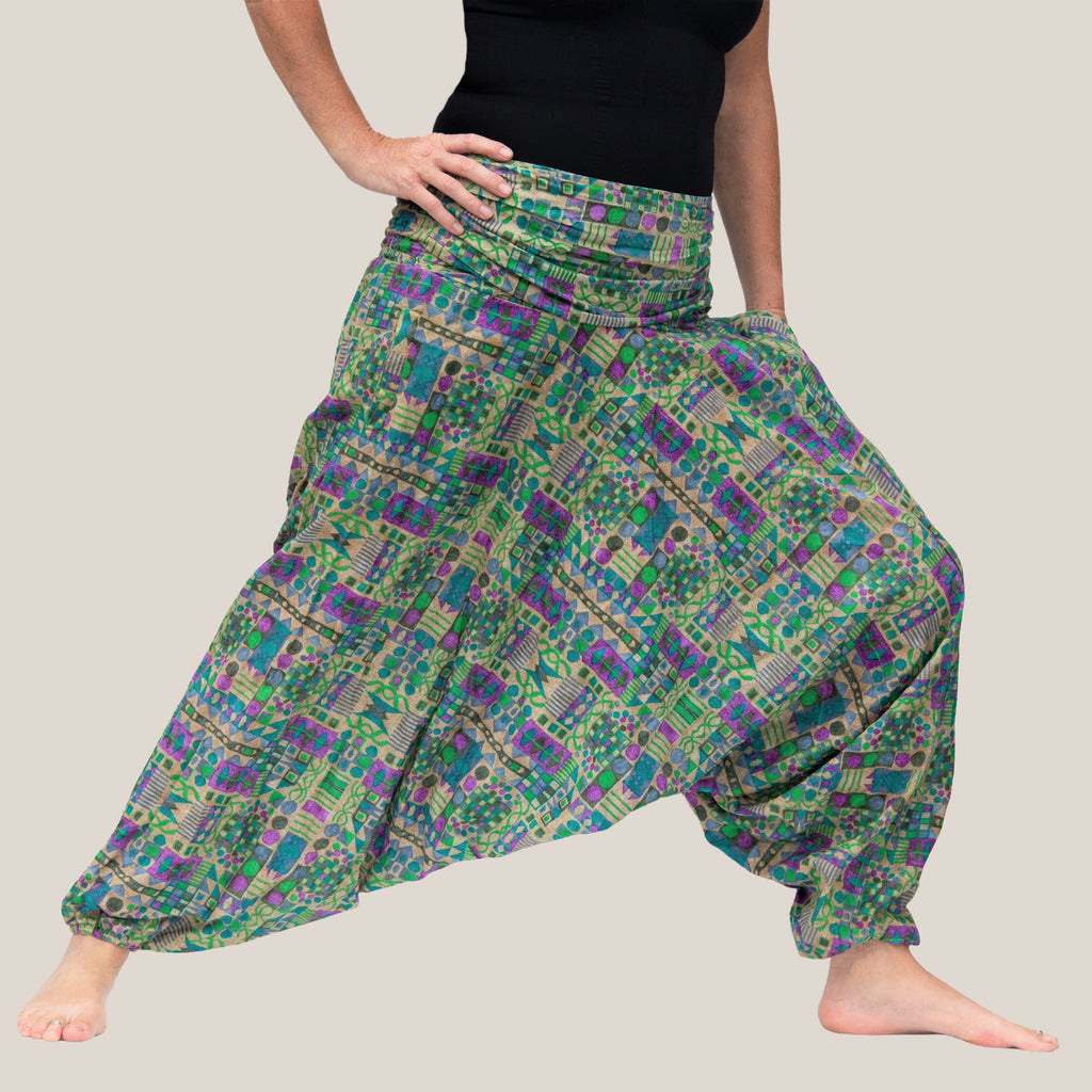 Green Geometric - Yoga Pants, Harem Trousers & Jumpsuit