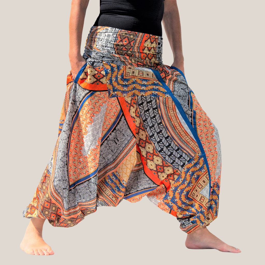 Patchwork Orange - Yoga Pants, Harem Trousers & Jumpsuit