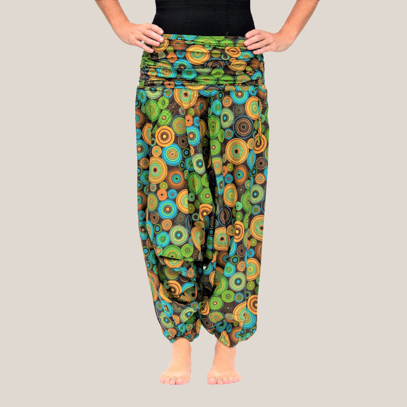 Green Mandala - Yoga Pants, Harem Trousers & Jumpsuit