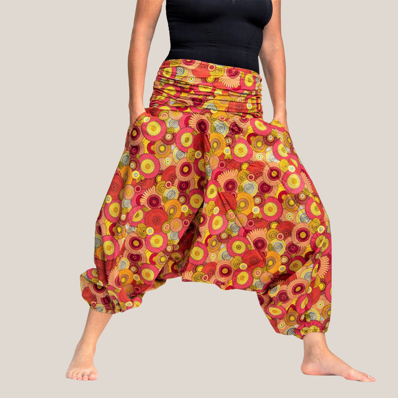 Pink Retro Flower - Yoga Pants, Harem Trousers & Jumpsuit