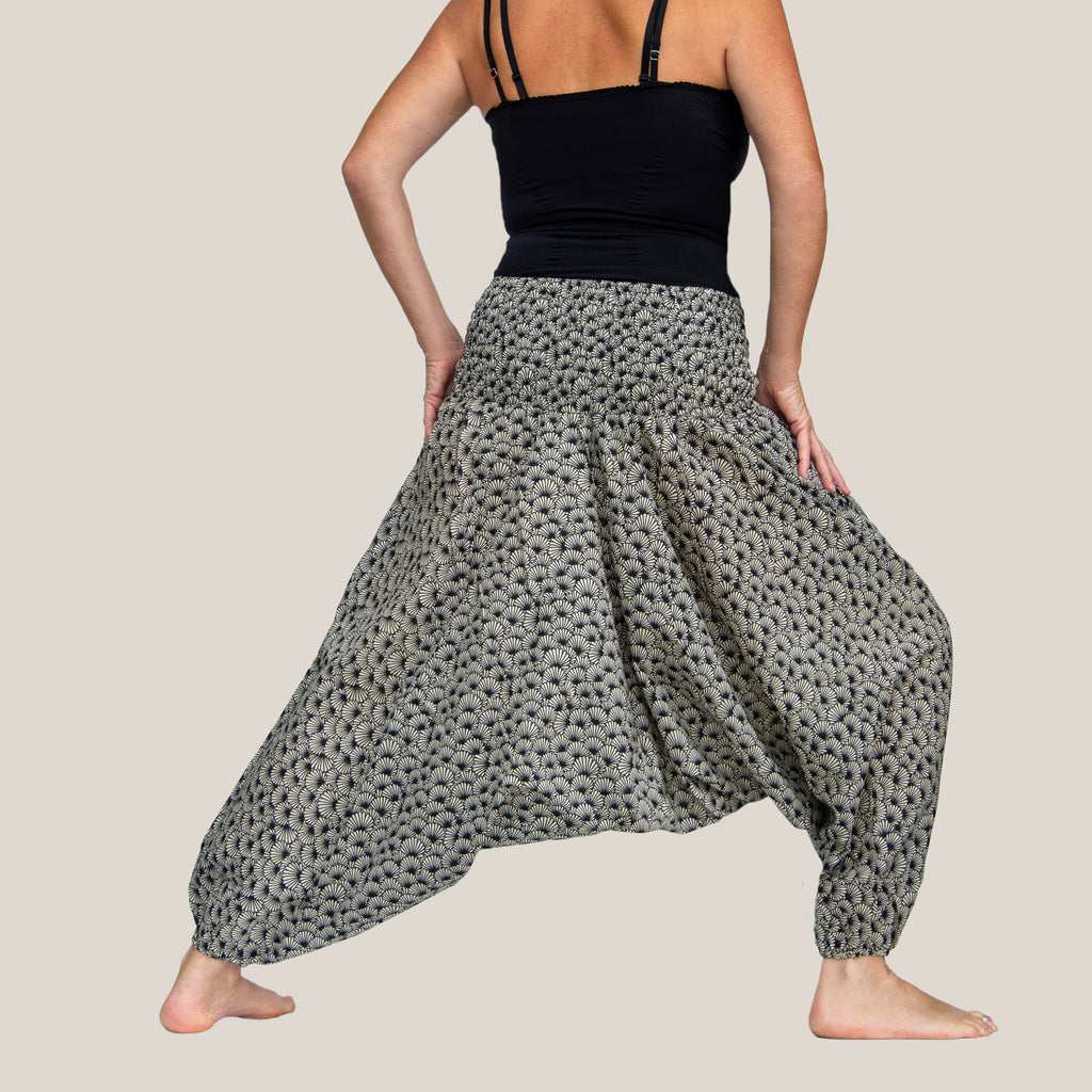 Black & White Flower Shell - Yoga Pants, Harem Trousers & Jumpsuit