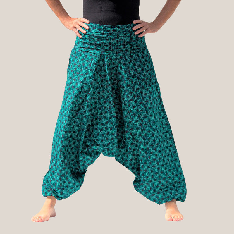 Green Palm Frond - Yoga Pants, Harem Trousers & Jumpsuit