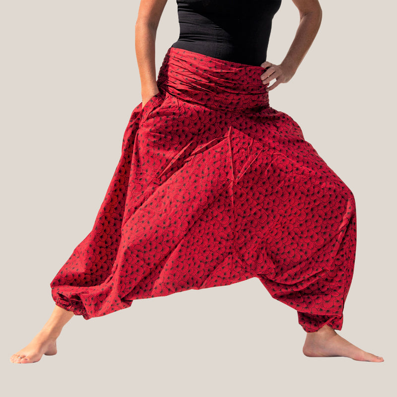 Red Flower Shell - Yoga Pants, Harem Trousers & Jumpsuit