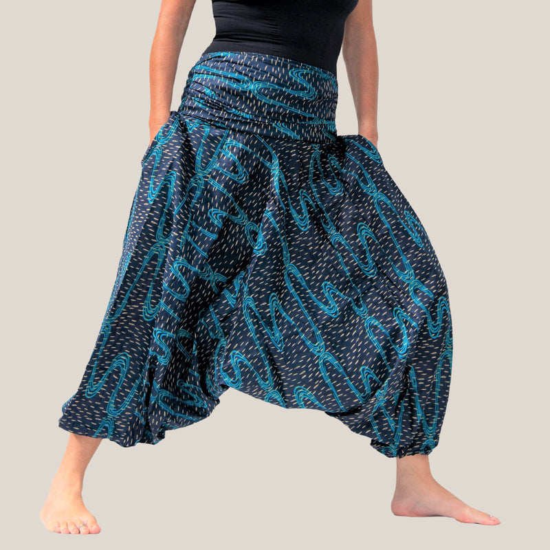 Blue Swirl - Yoga Pants, Harem Trousers & Jumpsuit