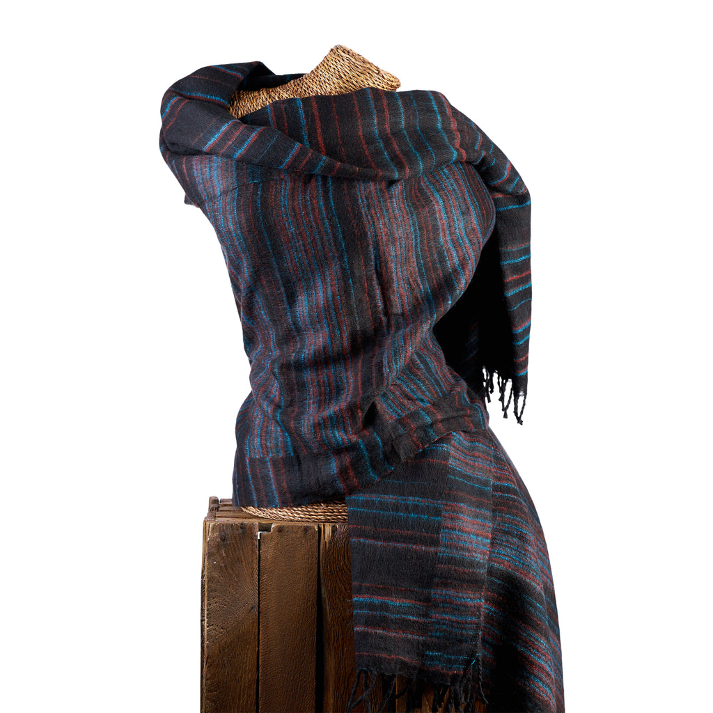 Soft Woven Recycled Acry-Yak Large Black Shawl - 04