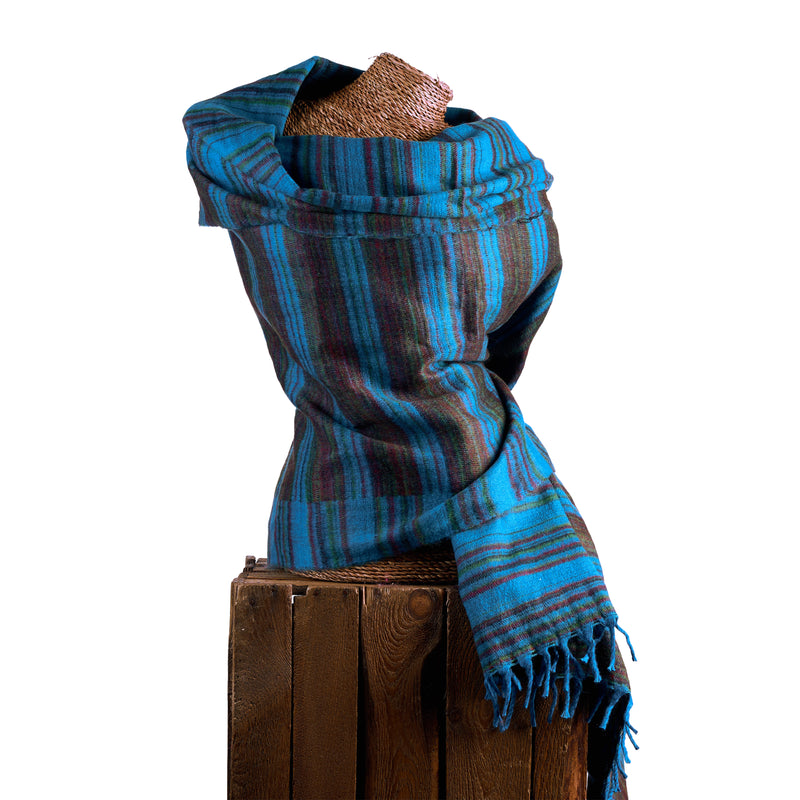 Soft Woven Recycled Acry-Yak Large Blue Shawl - 43