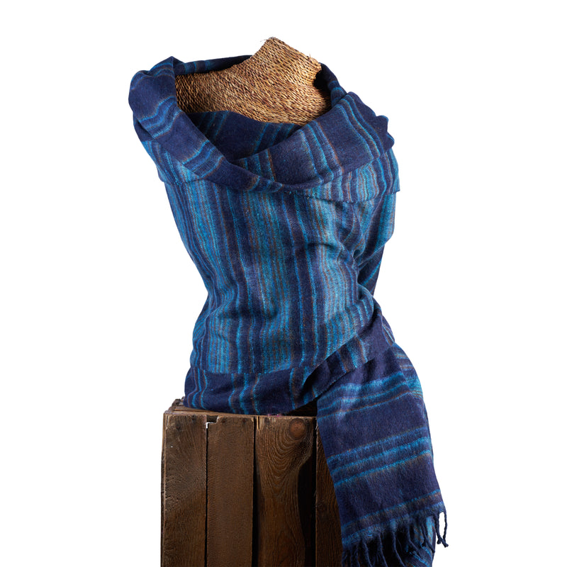 Soft Woven Recycled Acry-Yak Large Blue Shawl - 02