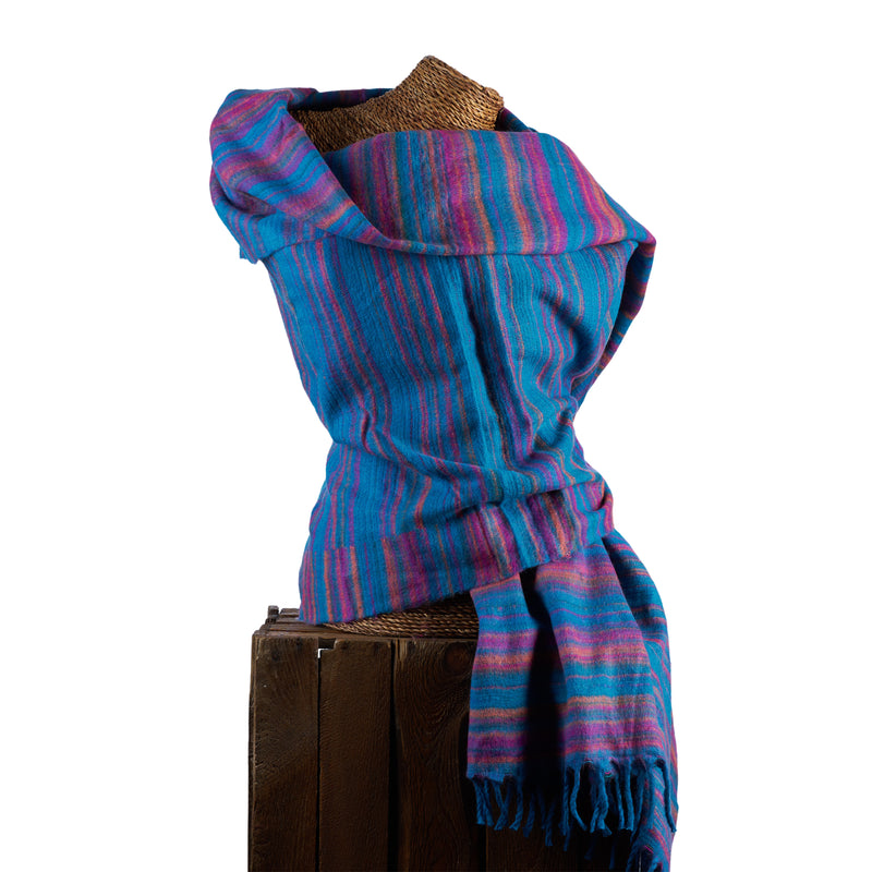 Soft Woven Recycled Acry-Yak Large Blue Shawl - 44