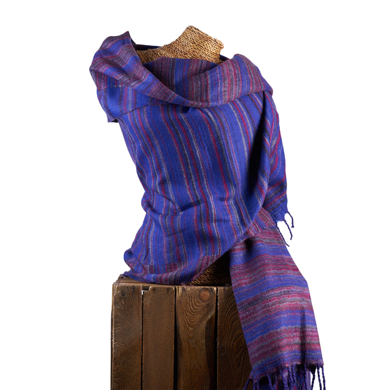 Soft Woven Recycled Acry-Yak Large Blue Shawl - 46
