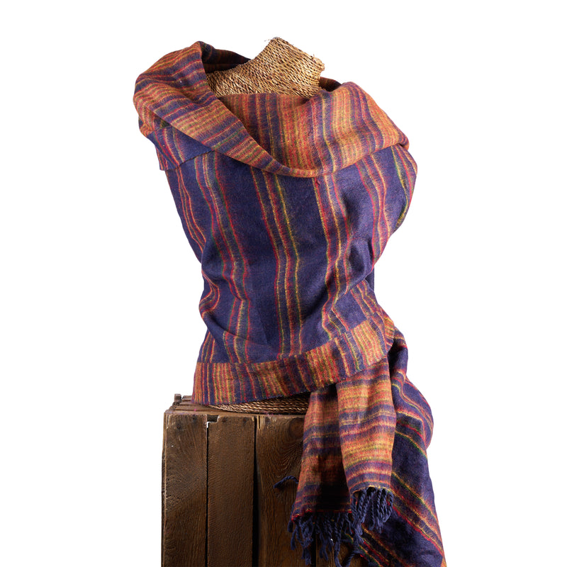 Soft Woven Recycled Acry-Yak Large Blue Shawl - 49