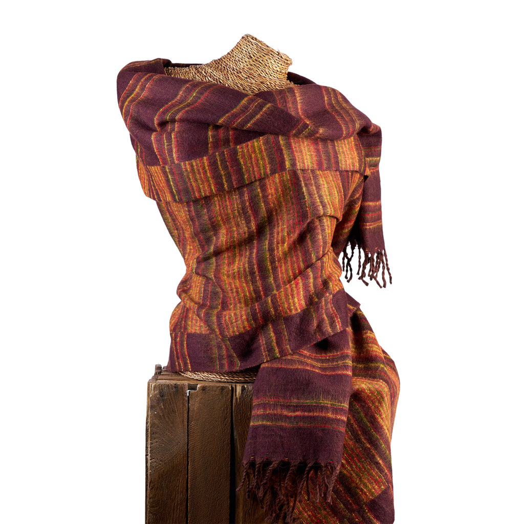 Soft Woven Recycled Acry-Yak Large Brown Shawl - 03