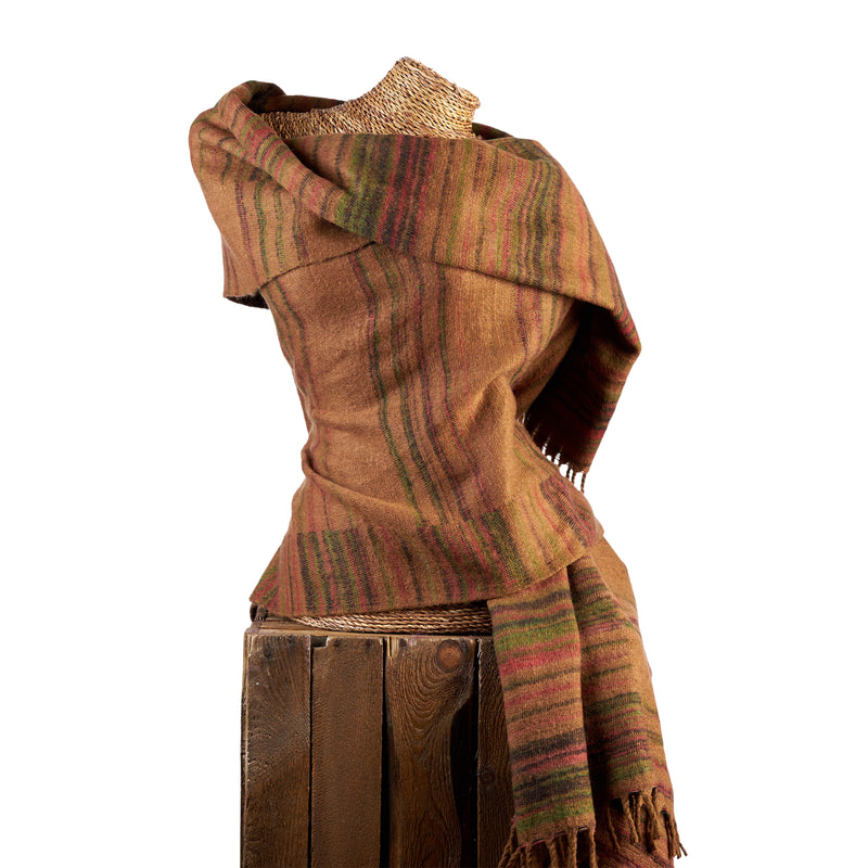 Soft Woven Recycled Acry-Yak Large Brown Shawl - 11