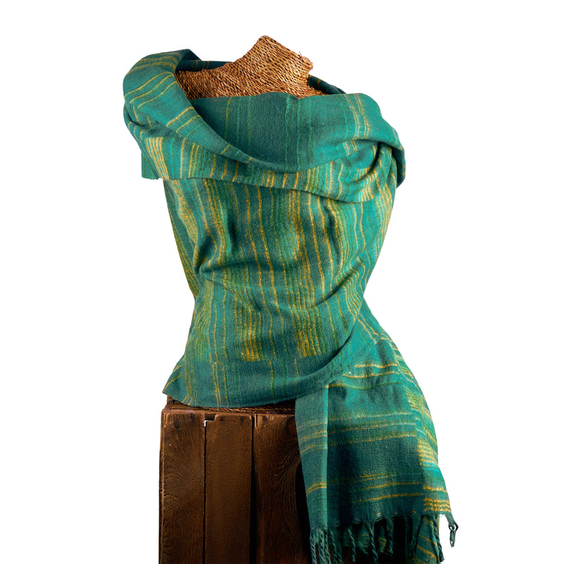 Soft Woven Recycled Acry-Yak Large Green Shawl - 23
