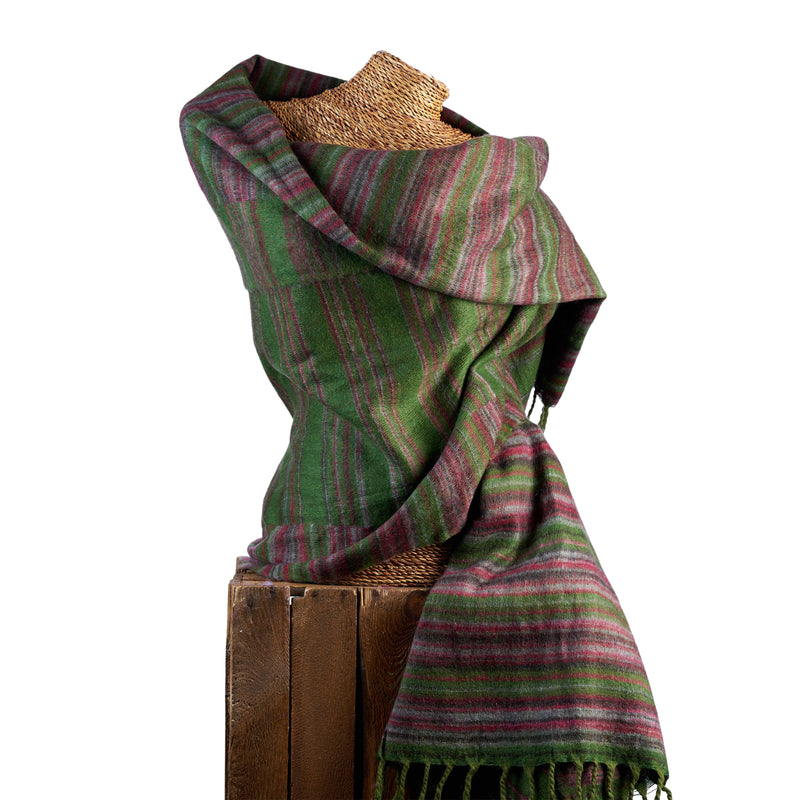 Soft Woven Recycled Acry-Yak Large Green Shawl - 06
