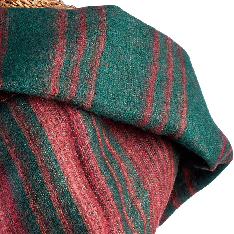 Soft Woven Recycled Acry-Yak Large Green Shawl - 19