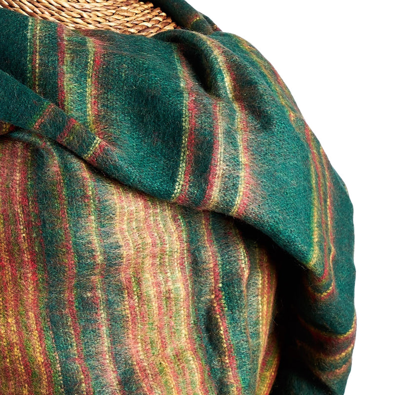 Soft Woven Recycled Acry-Yak Large Green Shawl - 21