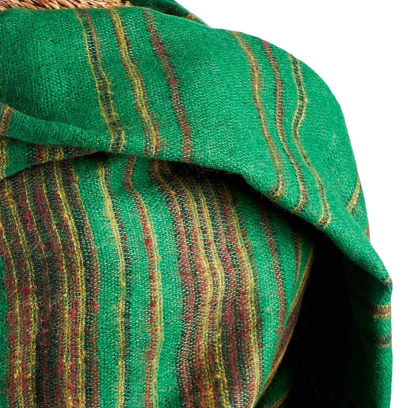 Soft Woven Recycled Acry-Yak Large Green Shawl - 22