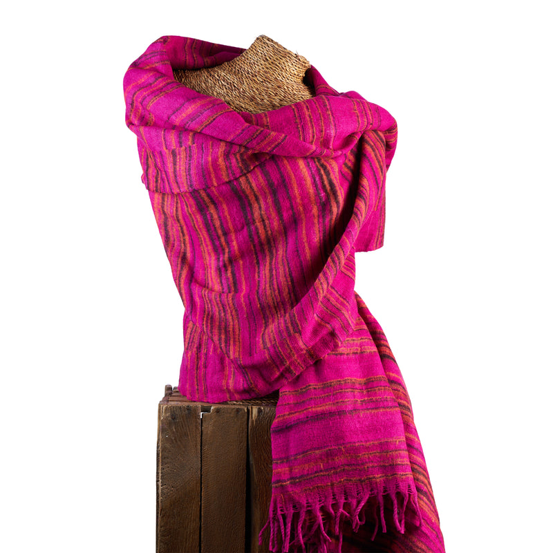 Soft Woven Recycled Acry-Yak Large Pink Shawl - 29