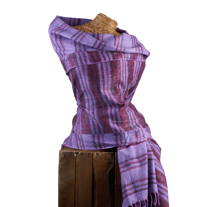 Soft Woven Recycled Acry-Yak Large Purple Shawl - 25