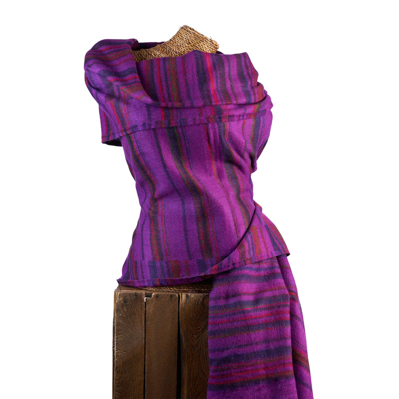 Soft Woven Recycled Acry-Yak Large Purple Shawl - 28