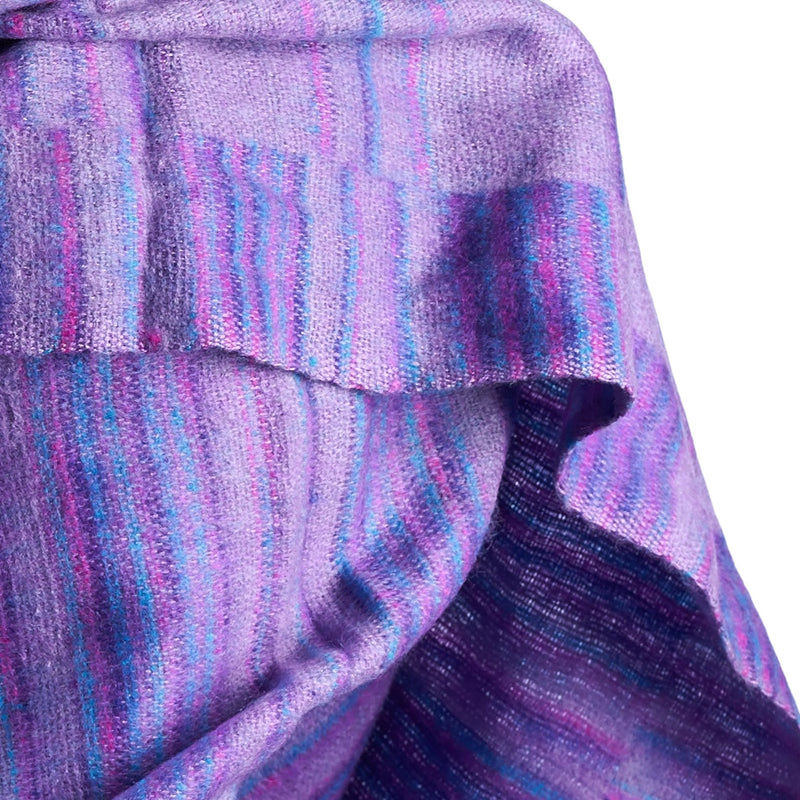 Soft Woven Recycled Acry-Yak Large Purple Shawl - 24