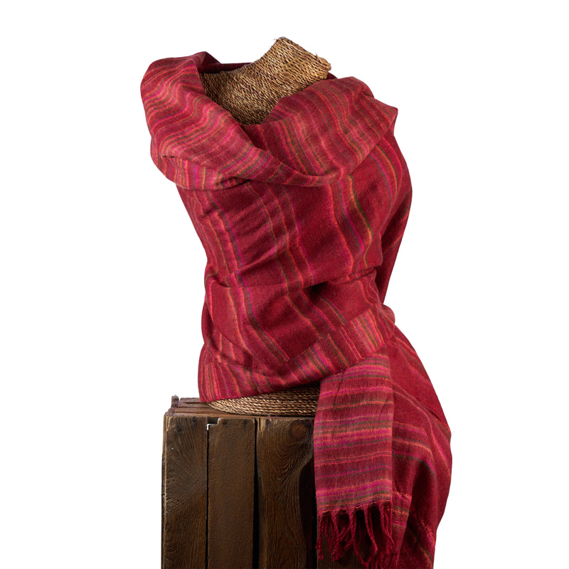 Soft Woven Recycled Acry-Yak Large Red Shawl - 36