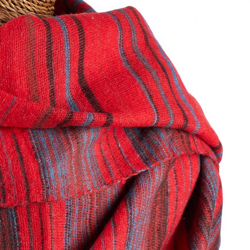 Soft Woven Recycled Acry-Yak Large Red Shawl - 33
