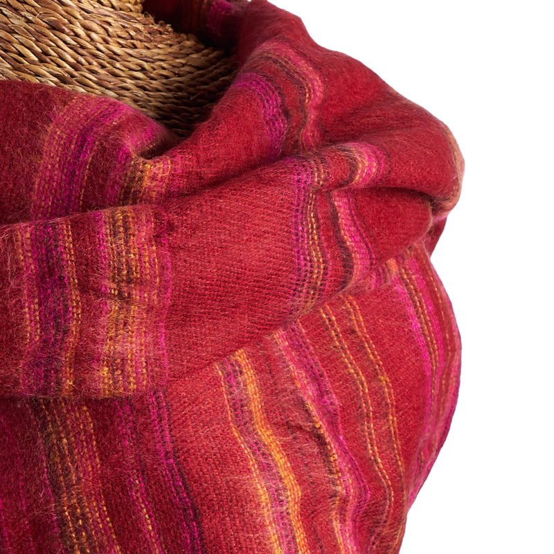 Soft Woven Recycled Acry-Yak Large Red Shawl - 37