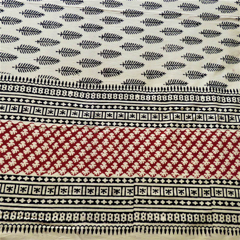 OMishka ethically handmade block print natural red and ecru patterned bed spread, cover and throw.
