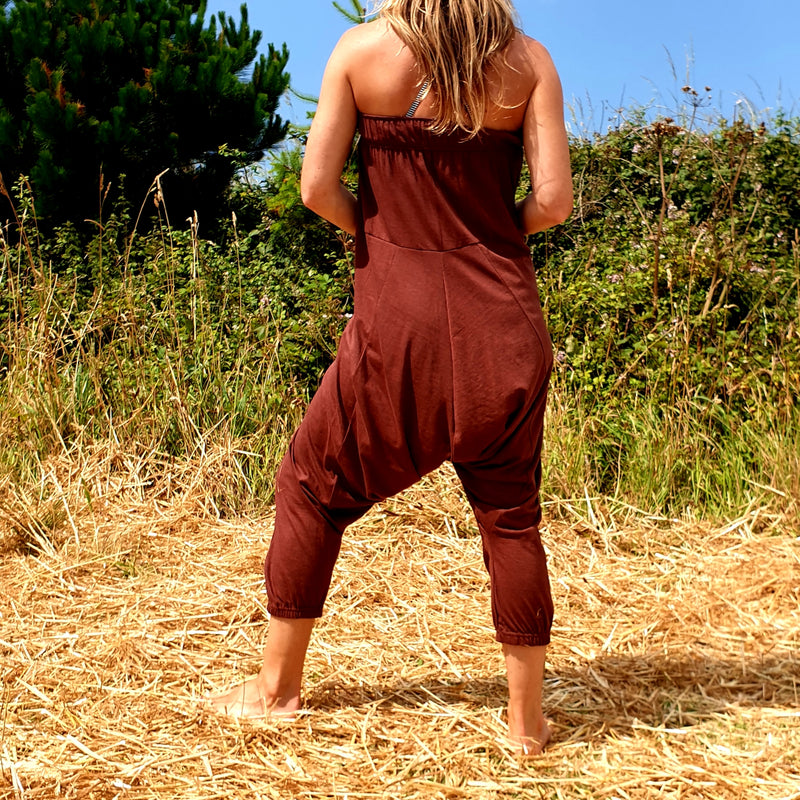 OMishka eco-friendly organic bamboo rust red harem trousers adjustable jumpsuit