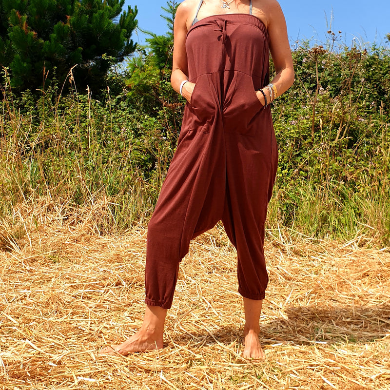OMishka eco-friendly organic bamboo rust red yoga trousers adjustable jumpsuit