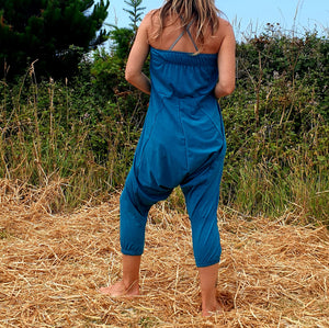 OMishka eco-friendly organic bamboo teal blue harem trousers adjustable jumpsuit