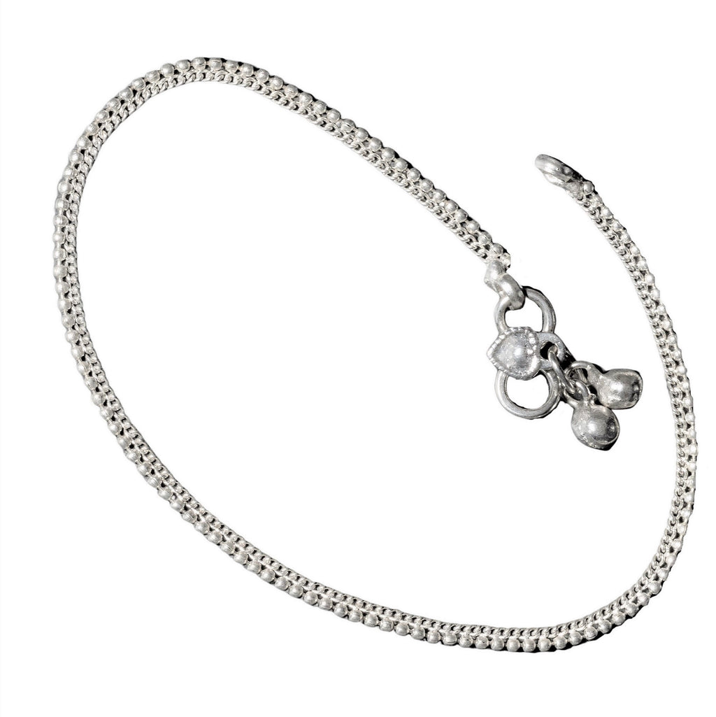 A charming, thin, nickel free solid silver beaded ankle chain designed by OMishka.
