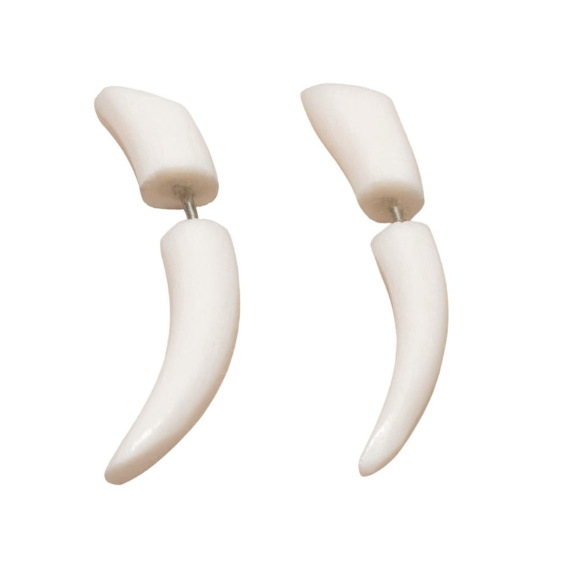 Artisan hand carved white mango wood, dainty spike, fake ear stretcher designed by OMishka.