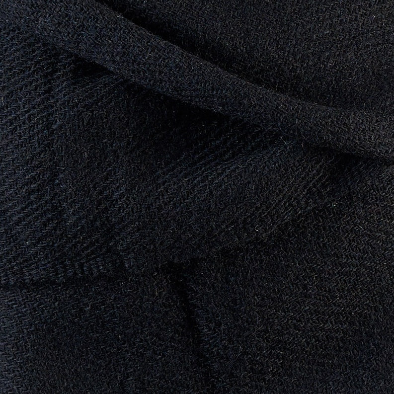Tiny Striped Woven Bamboo Large Black Shawl - 03