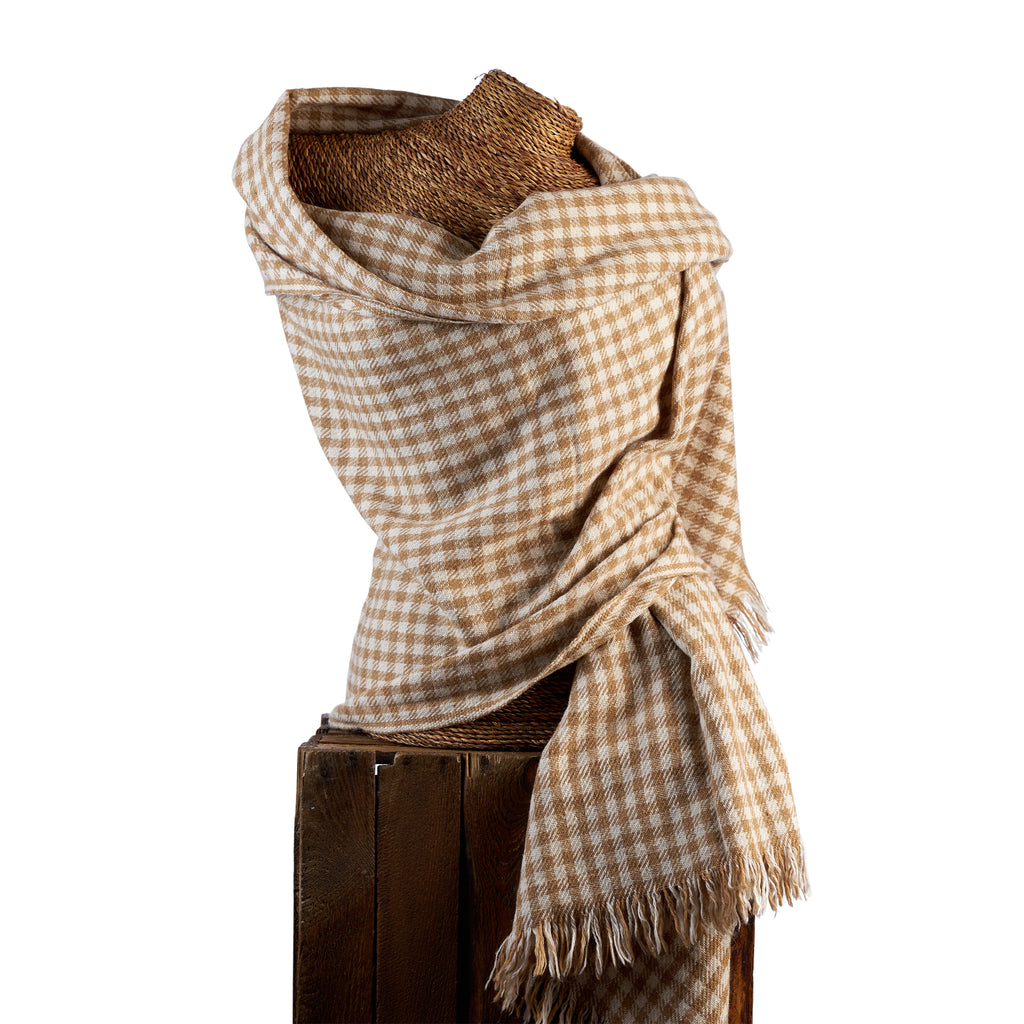 Chequered Woven Bamboo Large Brown & Beige Shawl