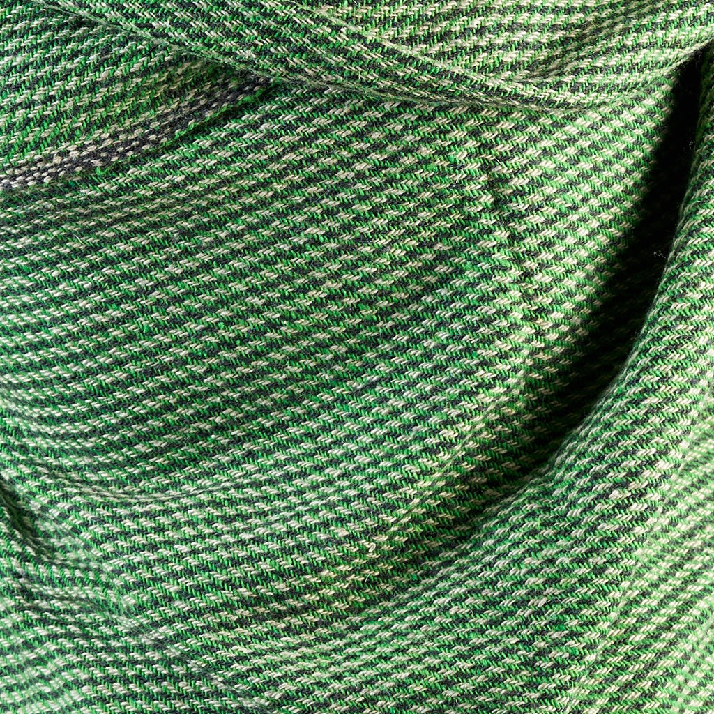 Cross Striped Woven Bamboo Large Green & Grey Shawl