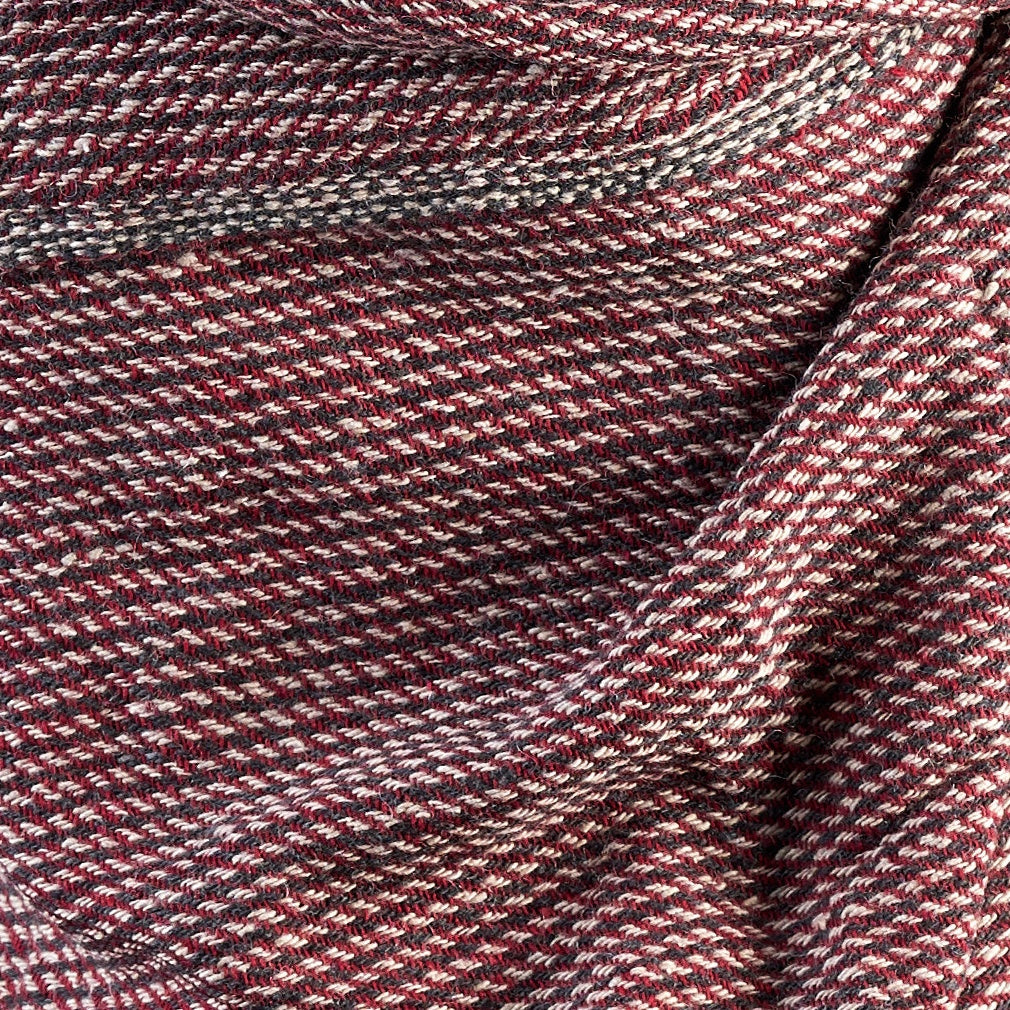Cross Striped Woven Bamboo Large Red & Grey Shawl