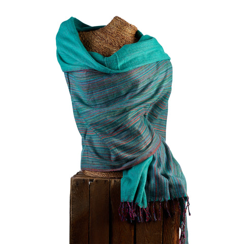 Soft Woven Bamboo Kantha Stitched Large Teal Shawl - 24