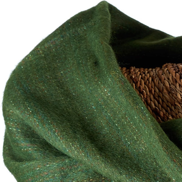Soft Woven Bamboo Kantha Stitched Large Green Shawl - 28