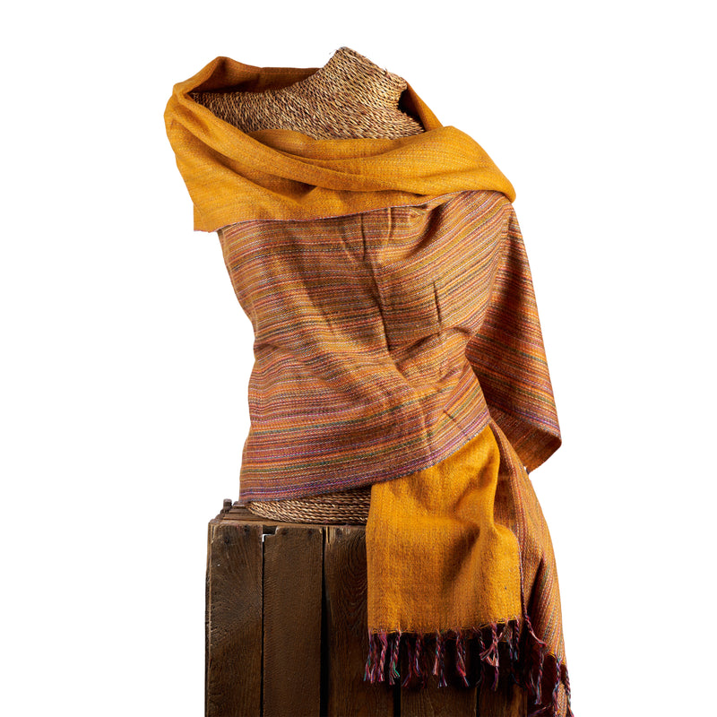 Soft Woven Bamboo Kantha Stitched Large Orange Shawl - 05